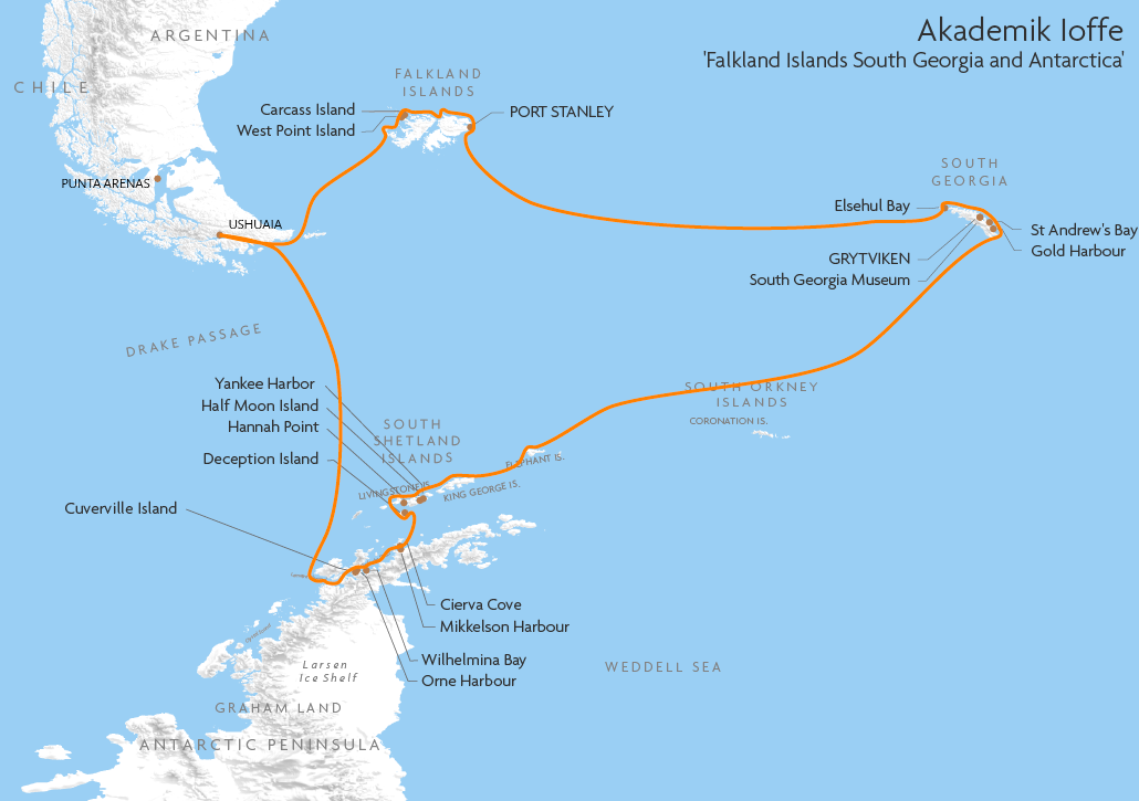 Itinerary map for Akademik Ioffe 'Falkland Islands South Georgia and Antarctica 17/18ns' cruise