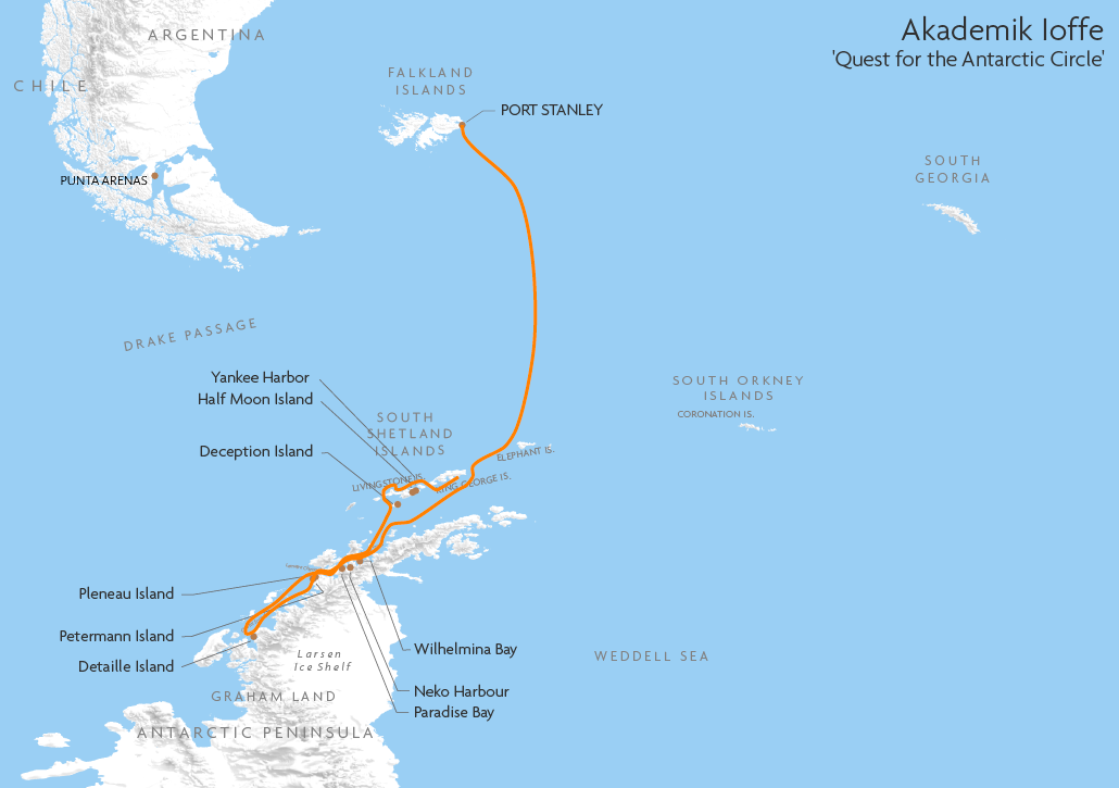 Itinerary map for Akademik Ioffe 'Quest for the Antarctic Circle' cruise