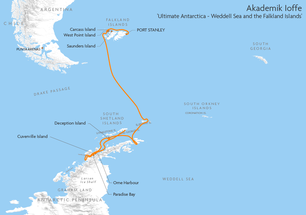Itinerary map for Akademik Ioffe Ultimate Antarctica - Weddell Sea and the Falkland Islands cruise