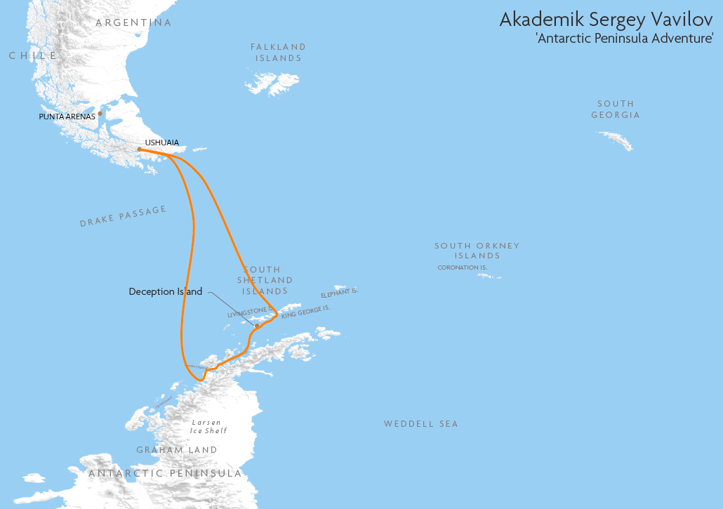 Itinerary map for Akademik Sergey Vavilov 'Antarctic Peninsula Adventure' cruise