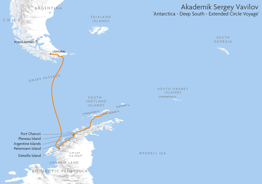 Itinerary map for Akademik Sergey Vavilov 'Antarctica - Deep South - Extended Circle Voyage' cruise