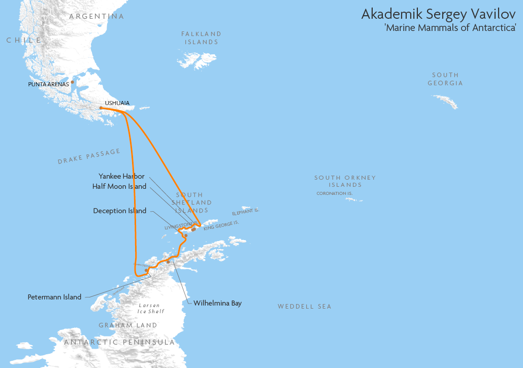 Itinerary map for Akademik Sergey Vavilov 'Marine Mammals of Antarctica' cruise