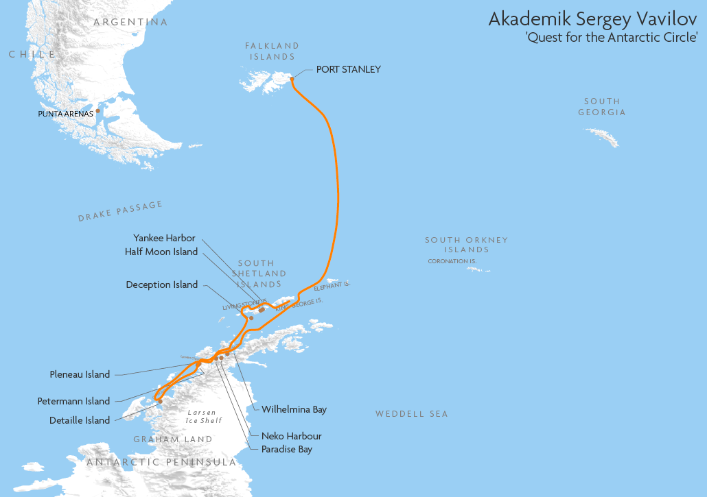 Itinerary map for Akademik Sergey Vavilov 'Quest for the Antarctic Circle' cruise