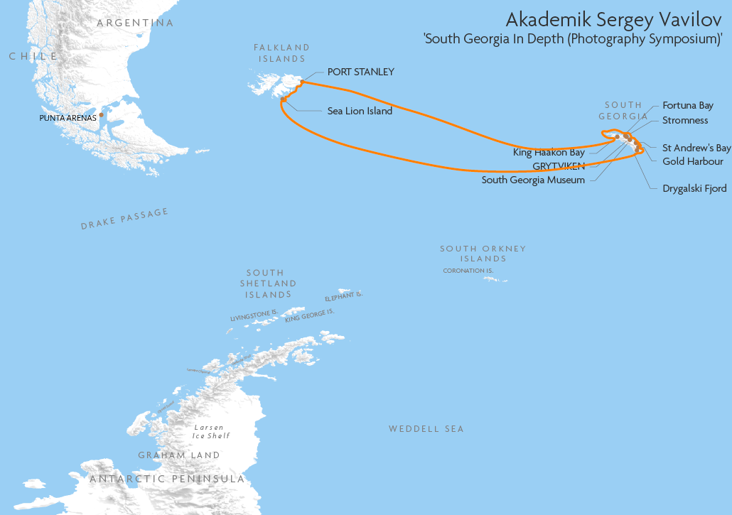 Itinerary map for Akademik Sergey Vavilov 'South Georgia In Depth' cruise
