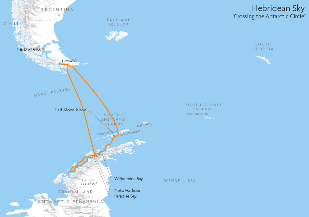 Itinerary map for Hebridean Sky 'Crossing the Antarctic Circle' cruise