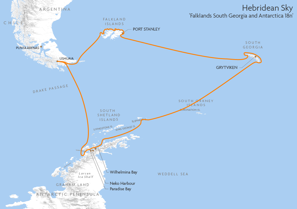 Itinerary map for Hebridean Sky 'Falklands South Georgia and Antarctica 18n' cruise
