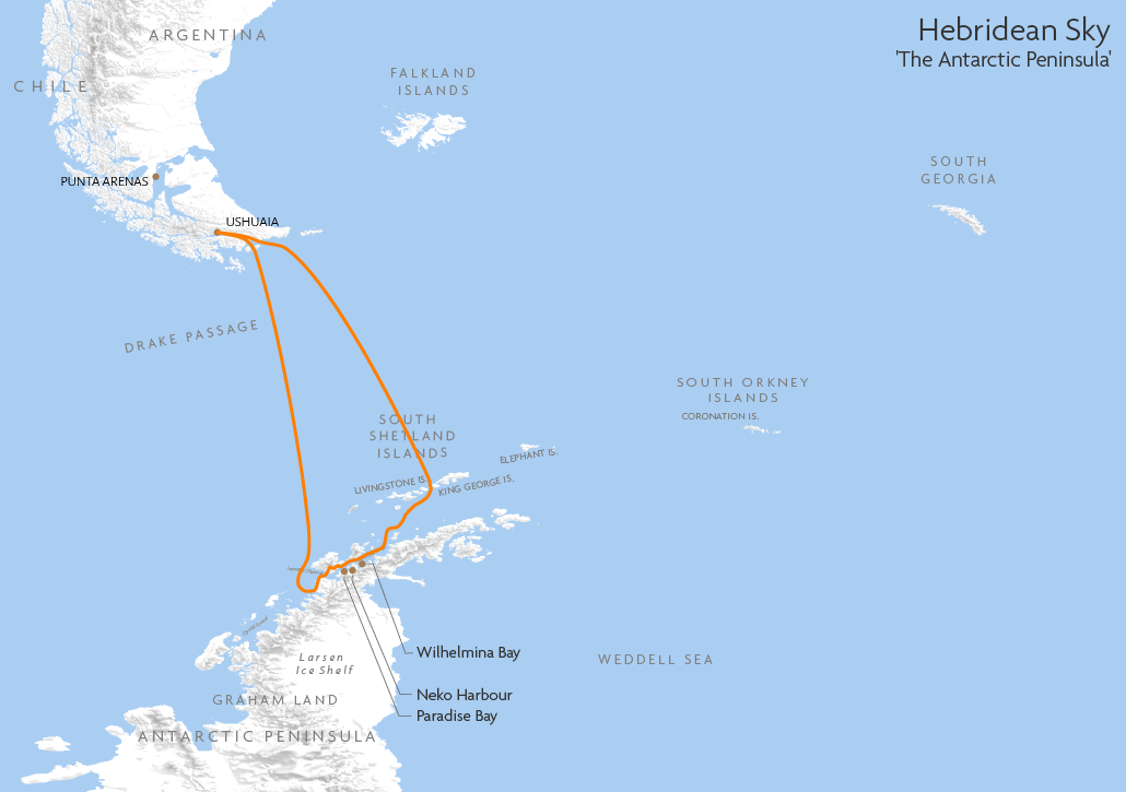 Itinerary map for Hebridean Sky 'The Antarctic Peninsula' cruise