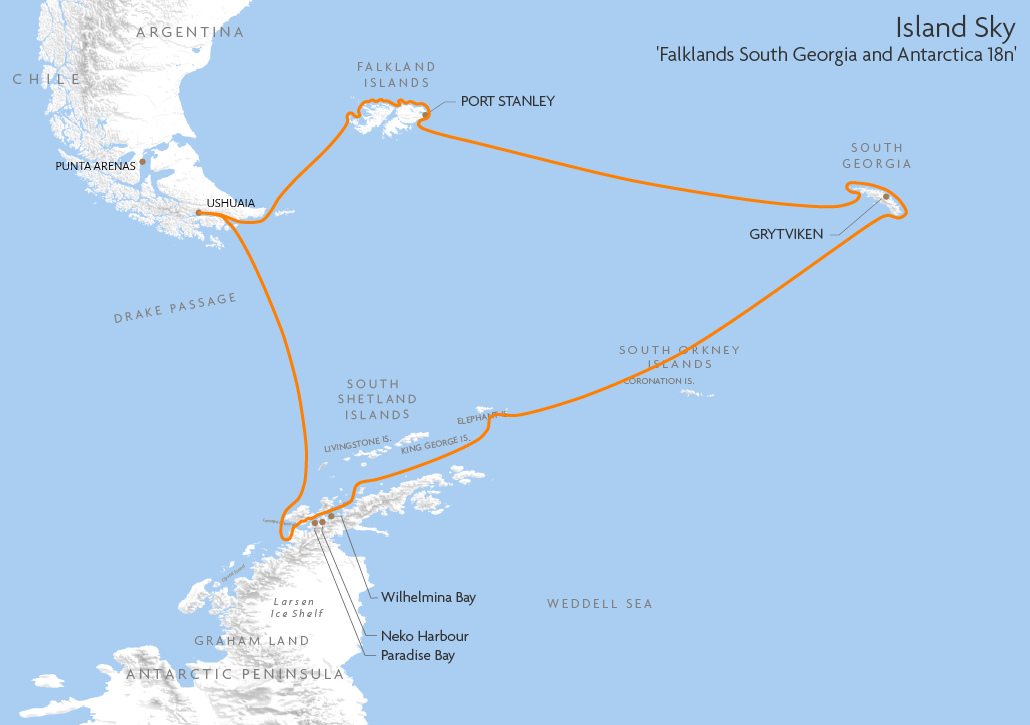 Itinerary map for Island Sky 'Falklands South Georgia and Antarctica 18n' cruise