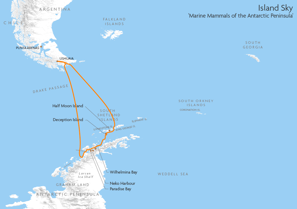Itinerary map for Island Sky 'Marine Mammals of the Antarctic Peninsula' cruise