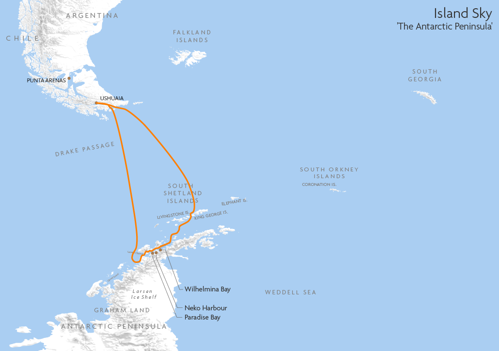 Itinerary map for Island Sky 'The Antarctic Peninsula' cruise