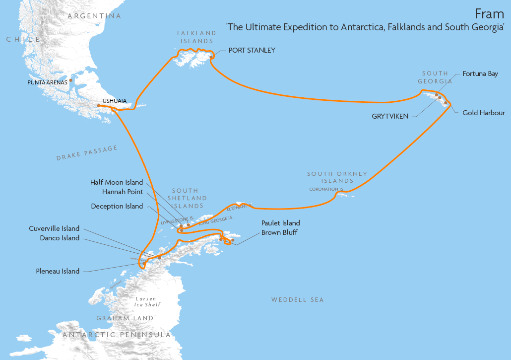 Itinerary map for Fram 'The Ultimate Expedition to Antarctica, Falklands and South Georgia' cruise
