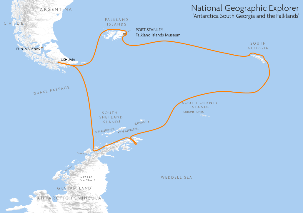 Itinerary map for National Geographic Explorer 'Antarctica South Georgia and the Falklands' cruise