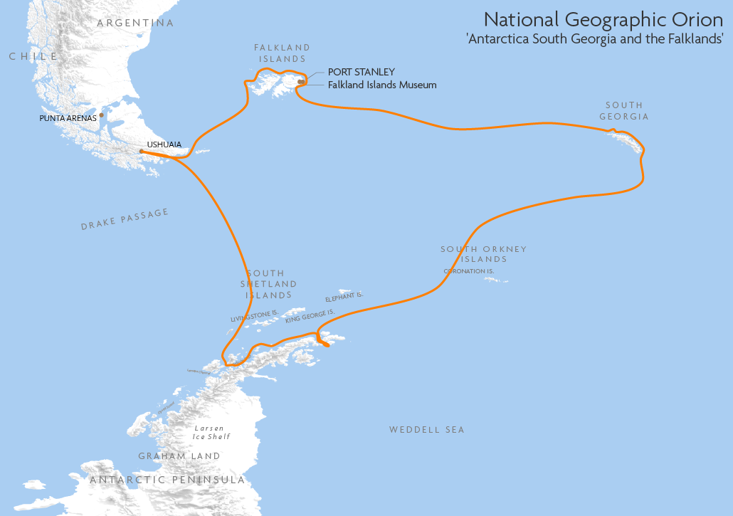 Itinerary map for National Geographic Orion 'Antarctica South Georgia and the Falklands' cruise