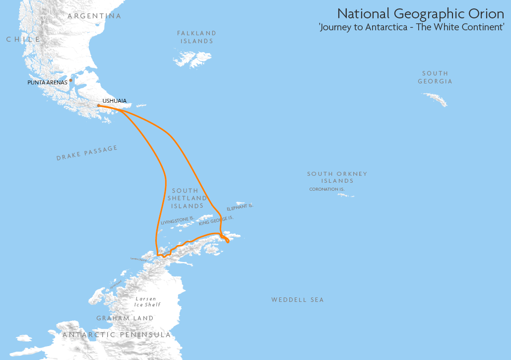 Itinerary map for National Geographic Orion 'Journey to Antarctica - The White Continent' cruise