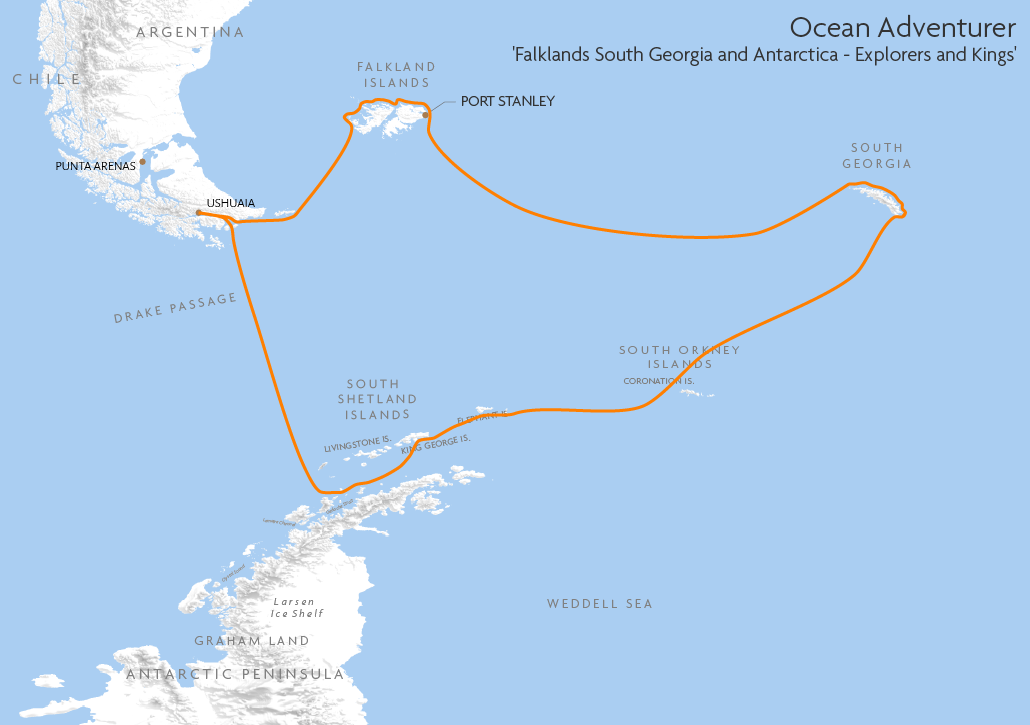 Itinerary map for Ocean Adventurer 'Falklands South Georgia and Antarctica - Explorers and Kings' cruise