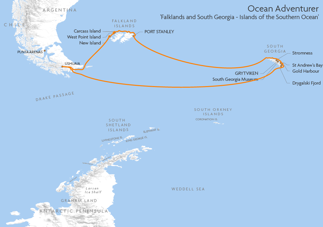 Itinerary map for Ocean Adventurer 'Falklands and South Georgia - Islands of the Southern Ocean' cruise