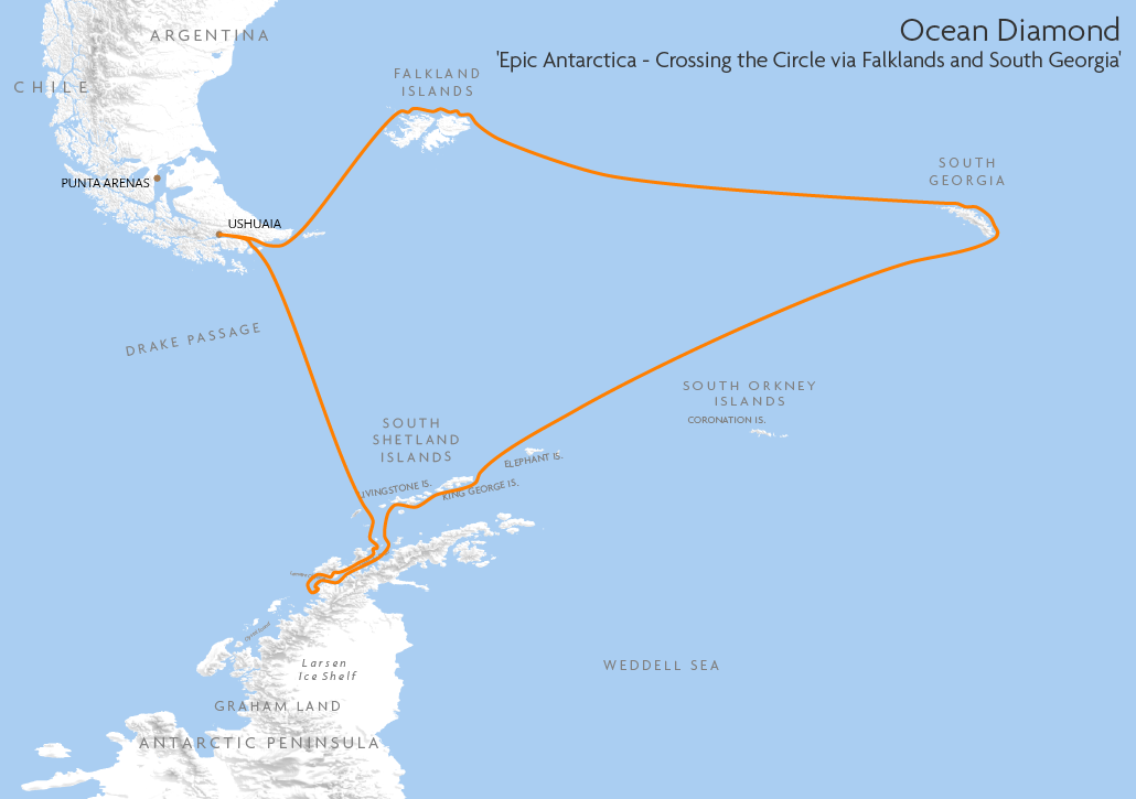 Itinerary map for Ocean Diamond 'Epic Antarctica - Crossing the Circle via Falklands and South Georgia' cruise