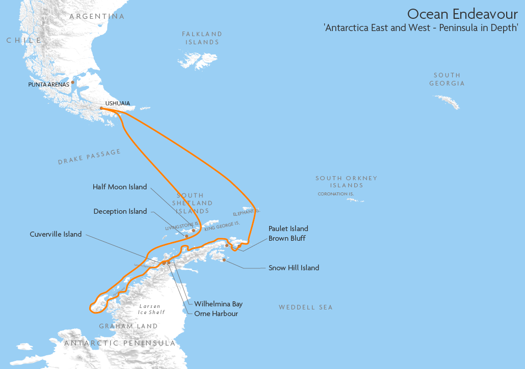Itinerary map for Ocean Endeavour 'Antarctica East and West - Peninsula in Depth' cruise