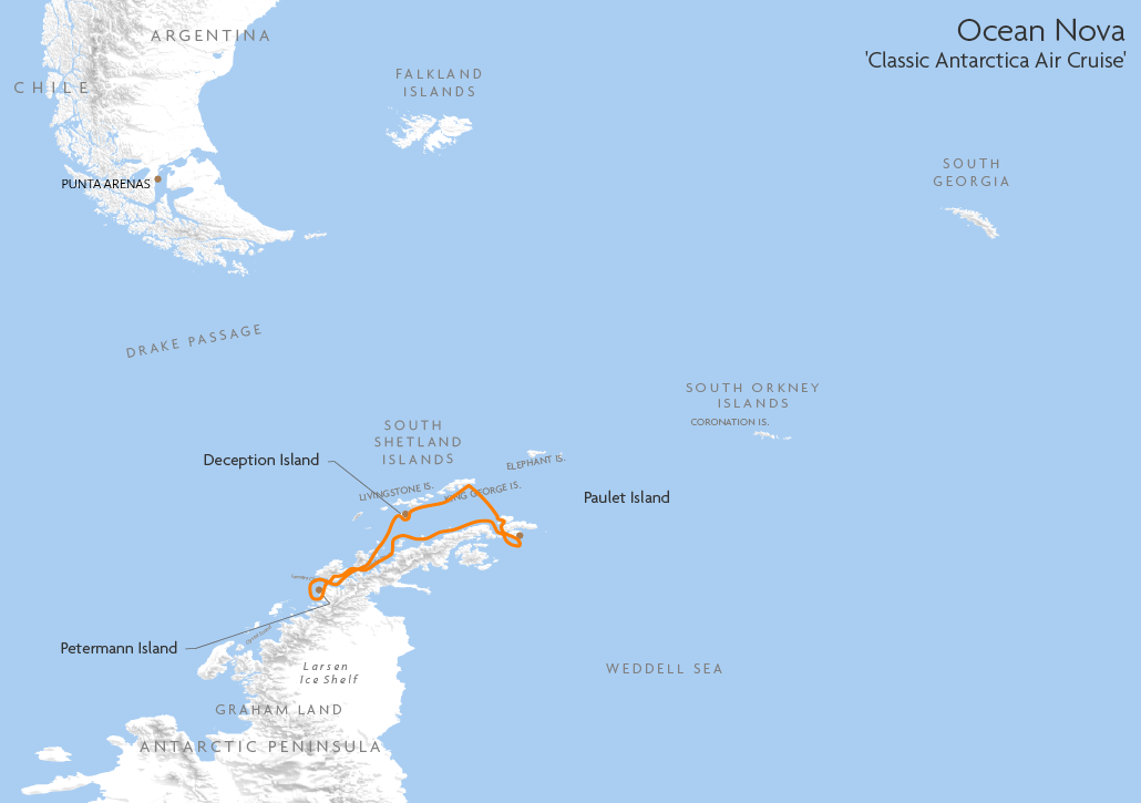 Itinerary map for Ocean Nova 'Classic Antarctica Air Cruise' cruise