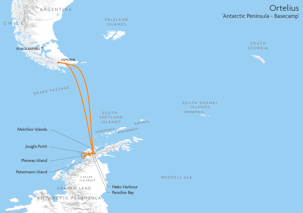 Itinerary map for Ortelius 'Antarctic Peninsula - Basecamp' cruise