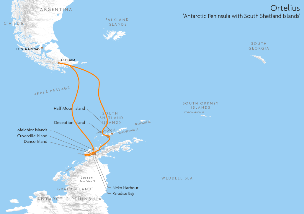 Itinerary map for Ortelius 'Antarctic Peninsula with South Shetland Islands' cruise