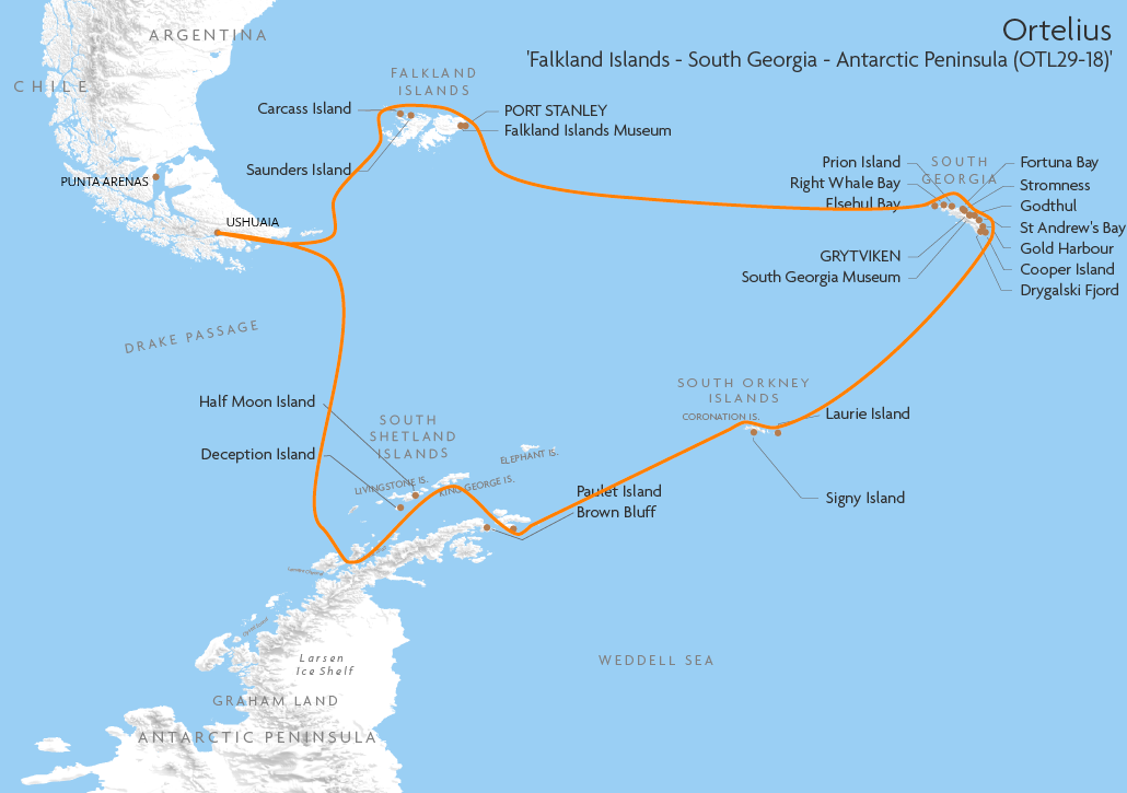 Itinerary map for Ortelius 'Falkland Islands - South Georgia - Antarctic Peninsula (OTL29-18)' cruise