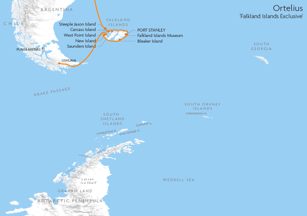 Itinerary map for Ortelius 'Falkland Islands Exclusive' cruise