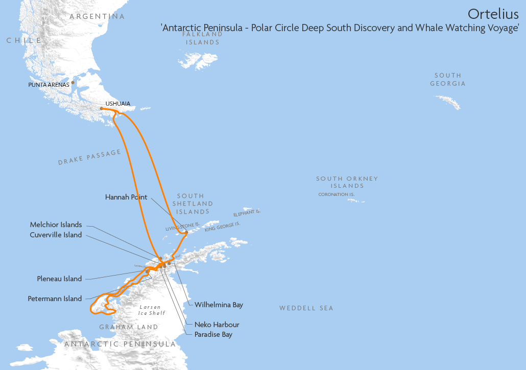 Itinerary map for Ortelius 'Antarctic Peninsula - Polar Circle Deep South Discovery and Whale Watching Voyage' cruise