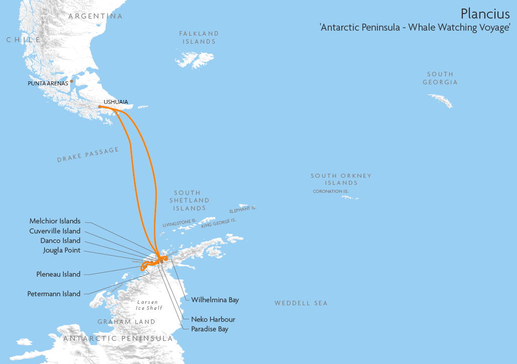 Itinerary map for Plancius 'Antarctic Peninsula - Whale Watching Voyage' cruise