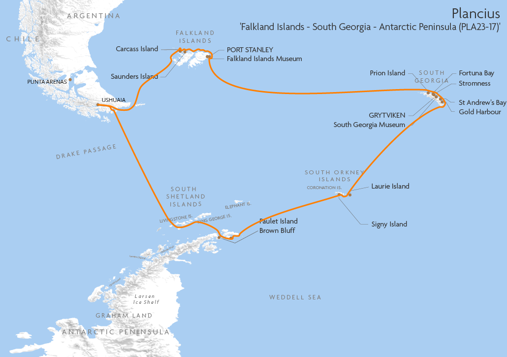 Itinerary map for Plancius 'Falkland Islands - South Georgia - Antarctic Peninsula (PLA23-17)' cruise