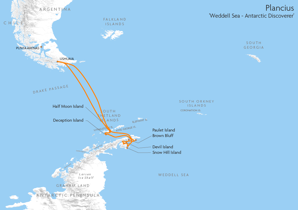 Itinerary map for Plancius 'Weddell Sea - Antarctic Discoverer' cruise
