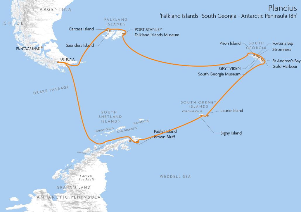 Itinerary map for Plancius 'Falkland Islands -South Georgia - Antarctic Peninsula 18n' cruise