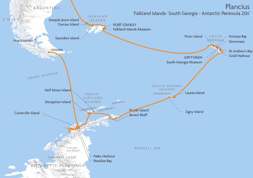 Itinerary map for Plancius 'Falkland Islands- South Georgia - Antarctic Peninsula 20n' cruise