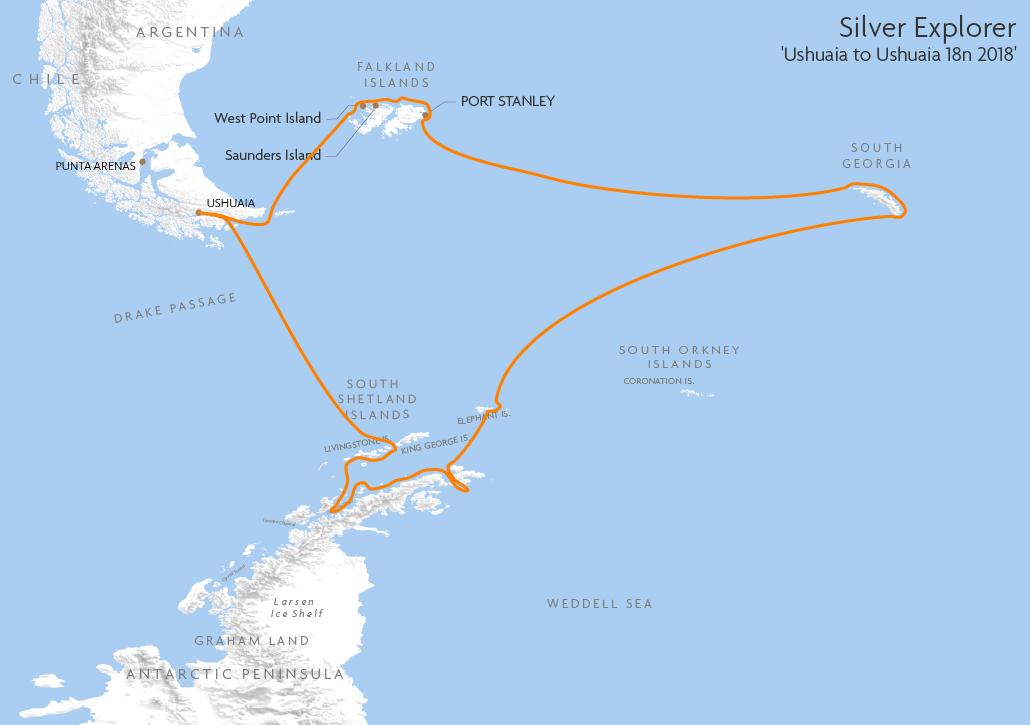 Itinerary map for Silver Explorer 'Ushuaia to Ushuaia 18n 2018' cruise