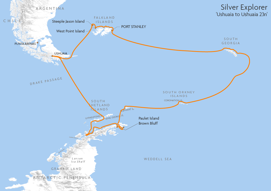 Itinerary map for Silver Explorer 'Ushuaia to Ushuaia 23n' cruise