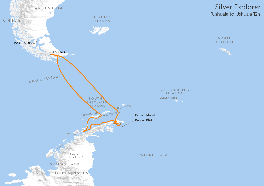 Itinerary map for Silver Explorer 'Ushuaia to Ushuaia 12n' cruise