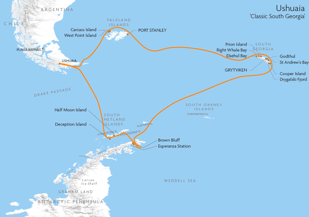 Itinerary map for Ushuaia 'Classic South Georgia' cruise