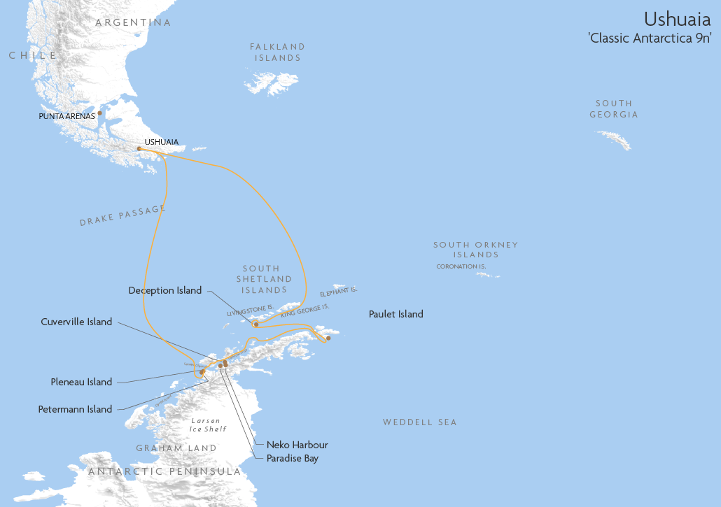 Itinerary map for Ushuaia 'Classic Antarctica 9n' cruise