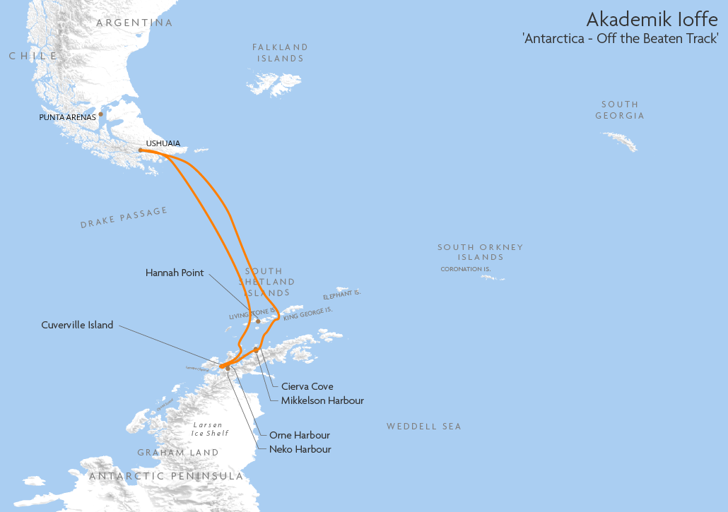 Itinerary map for Ushuaia 'Polar Circle Quest' cruise