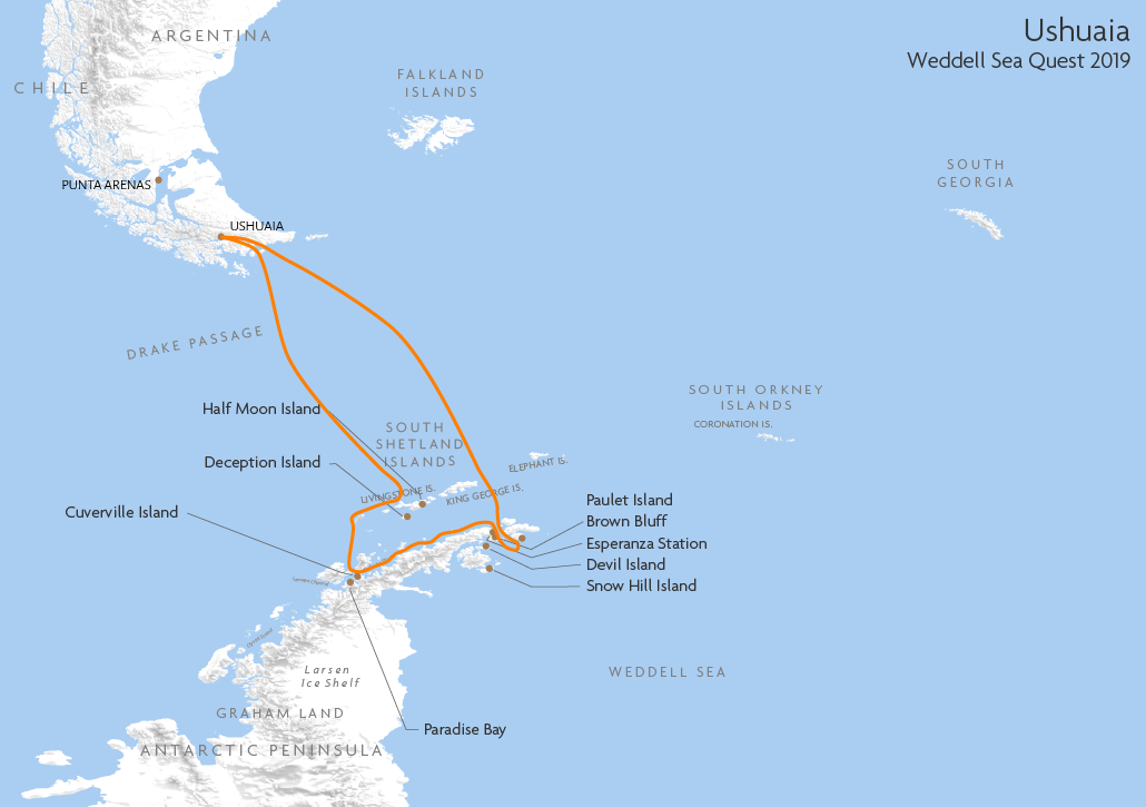 Itinerary map for Ushuaia Weddell Sea Quest 2019 cruise