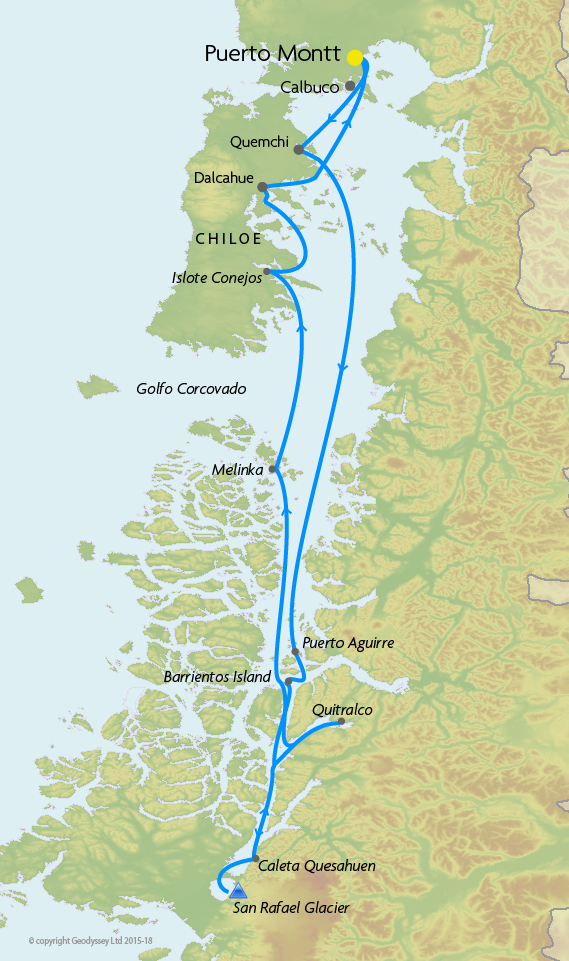 Itinerary map for Skorpios II 'Chonos Route' cruise
