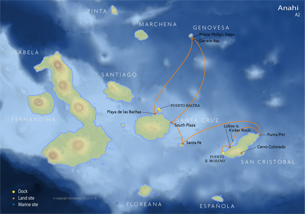 Itinerary map for Anahi A2 cruise