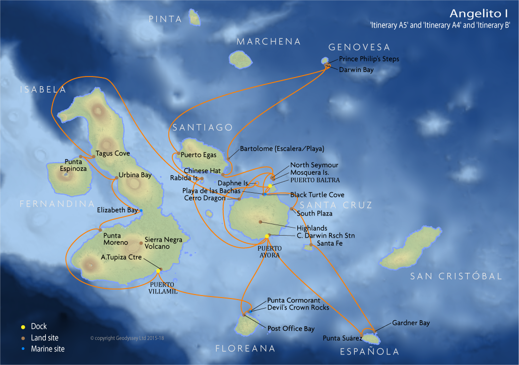 Itinerary map for Angelito I 'Itinerary A5' and 'Itinerary A4' and 'Itinerary B' Galapagos cruise