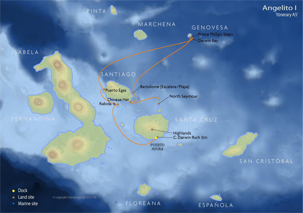 Itinerary map for Angelito I 'Itinerary A5' cruise