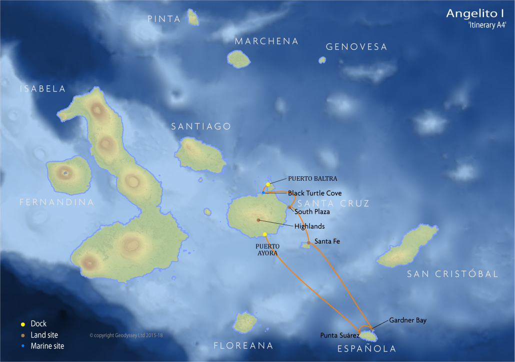 Itinerary map for Angelito I 'Itinerary A4' cruise