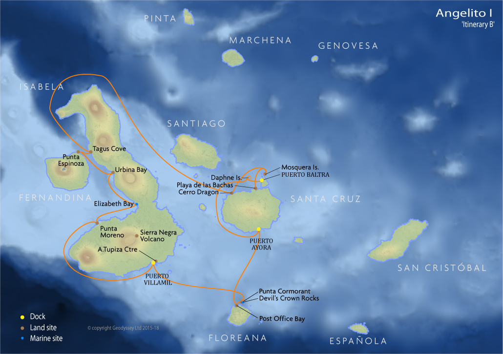 Itinerary map for Angelito I 'Itinerary B' cruise