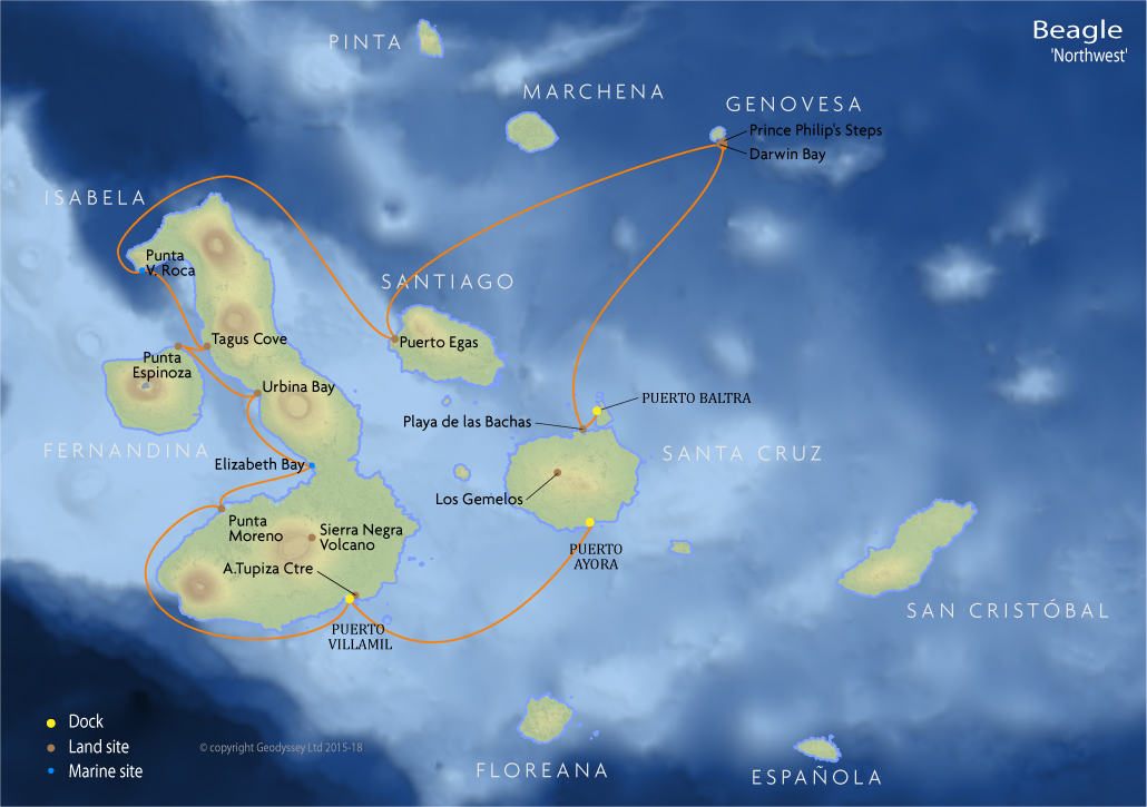 Itinerary map for Beagle 'Northwest' Galapagos cruise