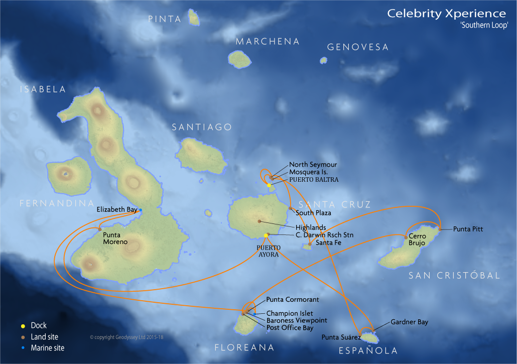Itinerary map for Celebrity Xperience 'Southern Loop' cruise