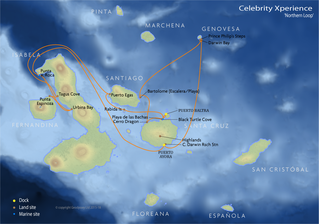 Itinerary map for Celebrity Xperience 'Northern Loop' cruise