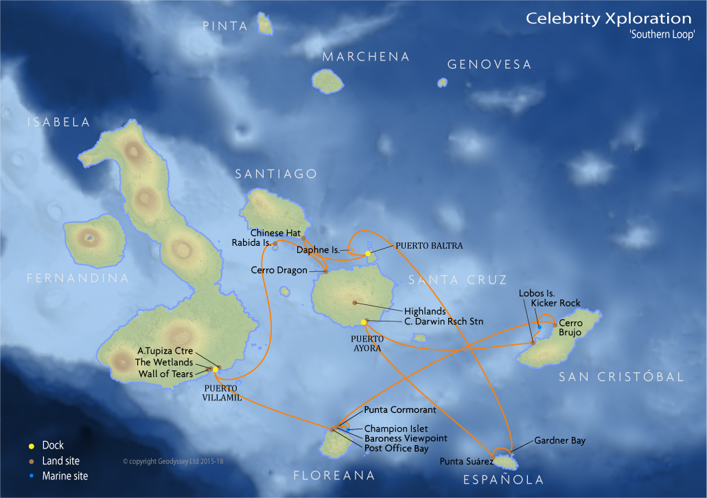 Itinerary map for Celebrity Xploration 'Southern Loop' cruise